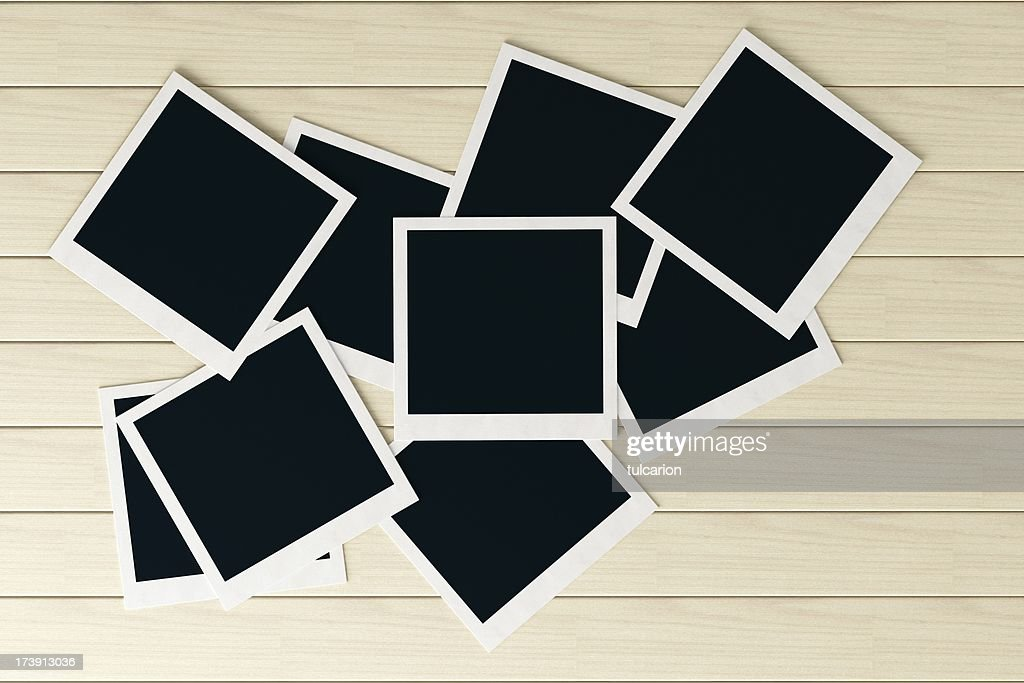 Photos on white table with copy space