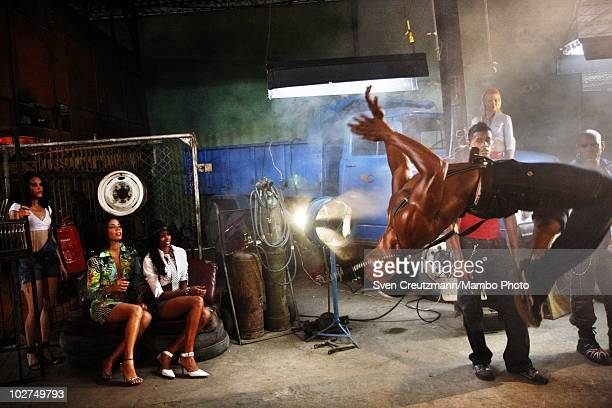 Photoshoot rehearsal of the KINGS OF SALSA a show with cuban dancers by british theater director Jon Lee on November 11 in Havana Cuba Cuban music...