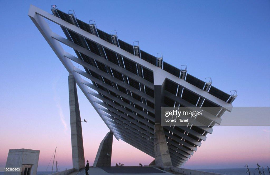 Photovoltaic panel at sunset, Forum. : Stock Photo