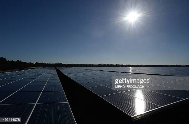 Photovoltaic panels dominate the landscape at the newly opened Solar Energy centre in Cestas on December 1 2015 After 10 months of construction the...