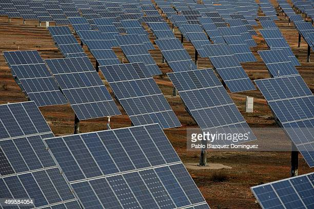 Photovoltaic power panels stand at Abaste's El Bonillo Solar Plant on December 2 2015 in El Bonillo Albacete province Spain Spain in 2008 was a...