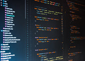 Php code on dark background in code editor