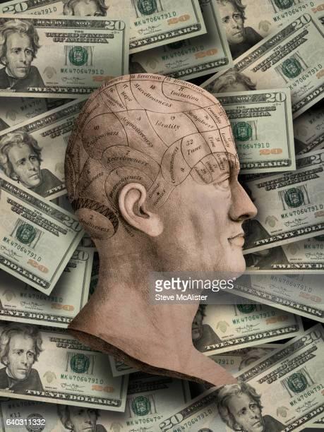 Phrenology Head Profile With Money