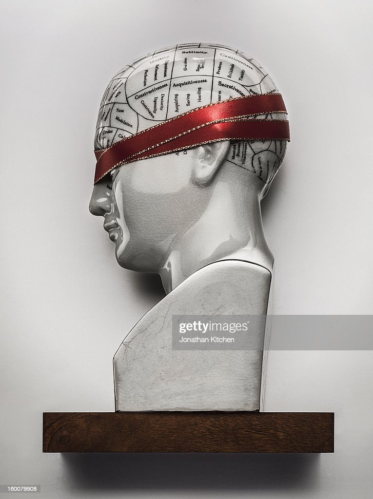 Phrenology head with covered eyes : Stock Photo