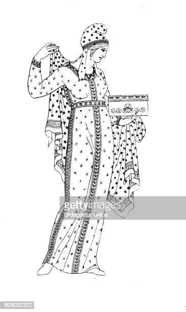 Phrygian costume colorful dress nach einem Vasengemaelde History of fashion costume story