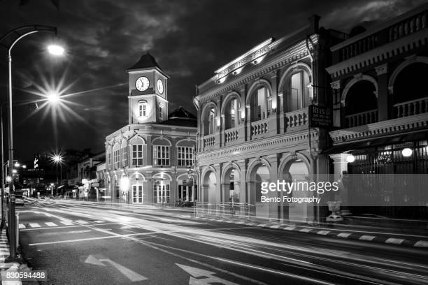 11/08/2017 Phuket, Thailand : Chino-Portuguese clock tower in phuket old town, Thailand