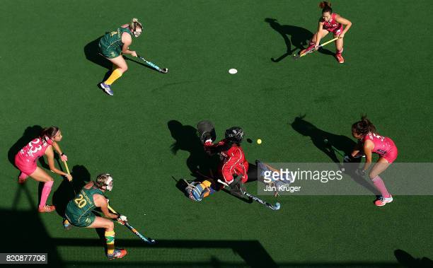 Phumelela Mbande goalkeeper of South Africa blocks a shot at goal during day 8 of the FIH Hockey World League Women's Semi Finals 5th/ 6th place...