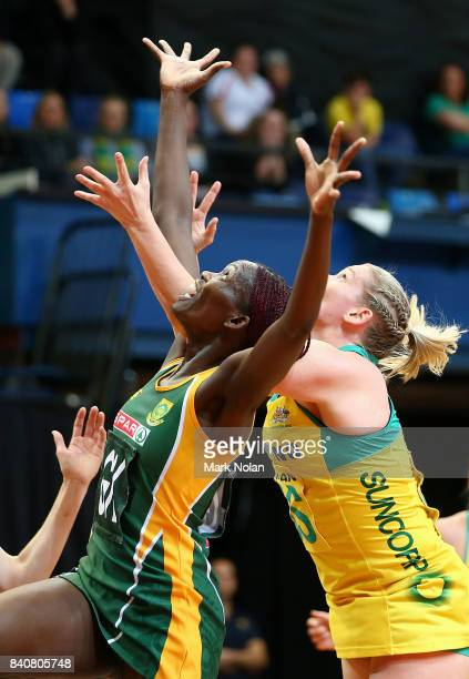 Phumza Maweni of the Proteas and Caitlin Thwaites of the Diamonds contest possession during the 2017 Netball Quad Series between the Australia...