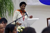 Phumzile MlamboNgcuka an UnderSecretaryGeneral of the United Nations and the Executive Director of UN Women speaks during a press conference at the...