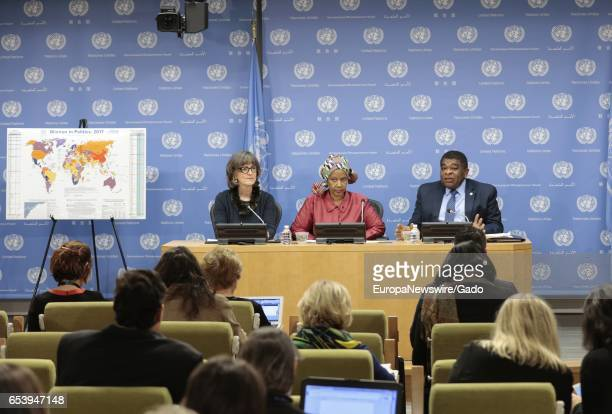 Phumzile MlamboNgcuka Executive Director UN Women Martin Chungong Secretary General IPU and Paddy Torsney during press briefing on the 2017 World Map...