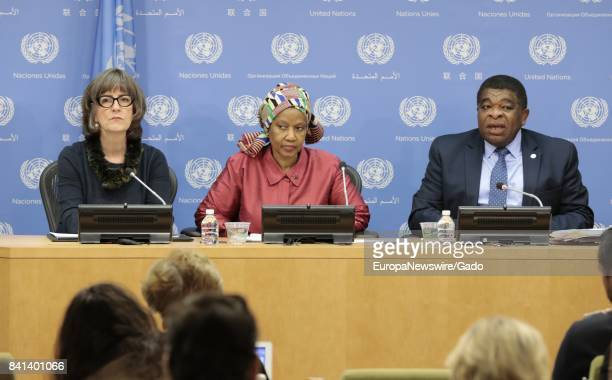 Phumzile MlamboNgcuka Executive Director UN Women Martin Chungong Secretary General IPU and Paddy Torsney at the United Nations Headquarters in New...
