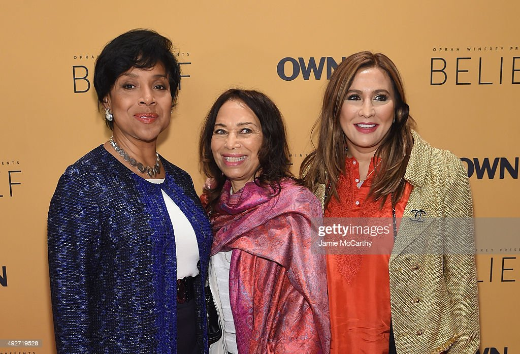 Phylicia Rashad, Janet League Katzin and Meera Gandhi attend the 'Belief' New York premiere at TheTimesCenter on October 14, 2015 in New York City.