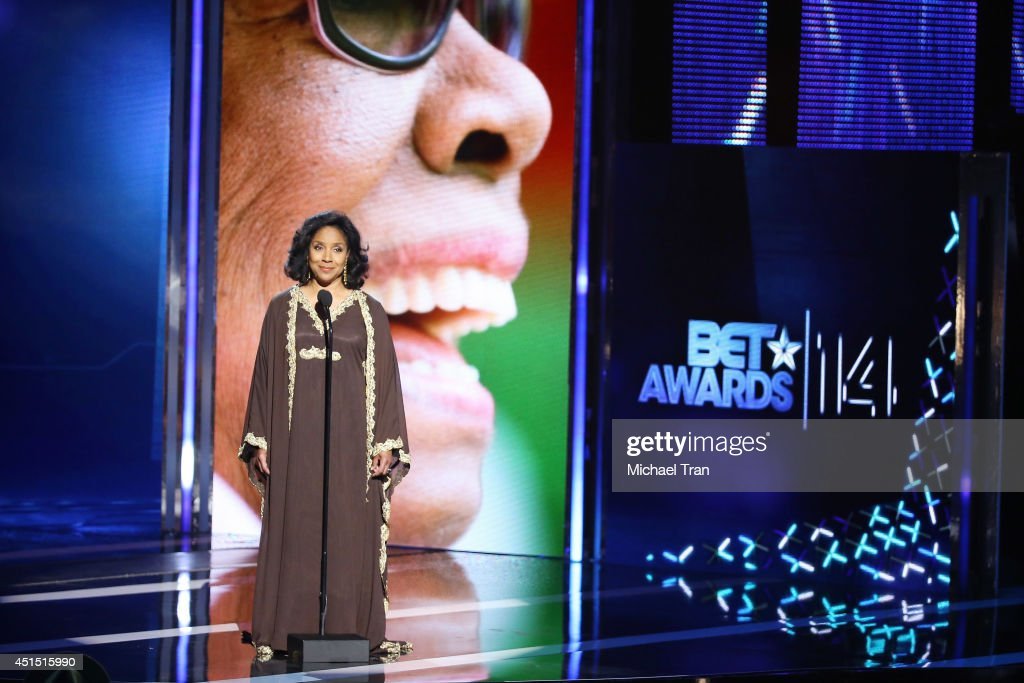 <a gi-track='captionPersonalityLinkClicked' href=/galleries/search?phrase=Phylicia+Rashad&family=editorial&specificpeople=206924 ng-click='$event.stopPropagation()'>Phylicia Rashad</a> speaks onstage during the 'BET AWARDS' 14 held at Nokia Theater L.A. LIVE on June 29, 2014 in Los Angeles, California.