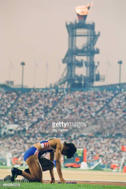 Phylis Smith of Great Britain at the start of the Women's 4x400m relay at Centennial Olympic Stadium during the Olympic Games in Atlanta Georgia 2nd...