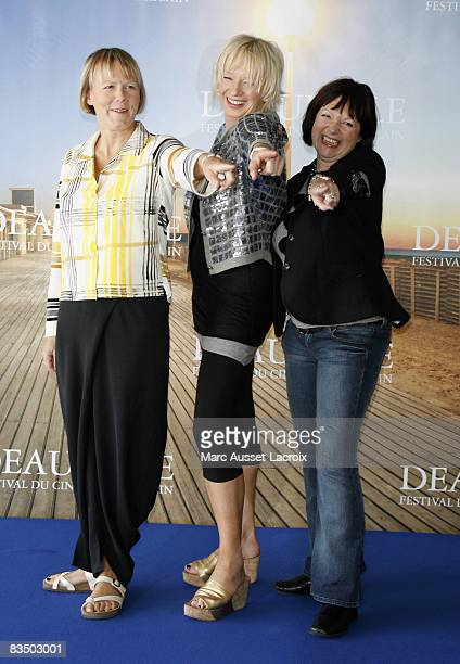 Phyllida Lloyd and Catherine Johnson and Judy Cramer attend the 34th Deauville Film Festival Mamma Mia Photocall on September 6 2008 in Deauville...