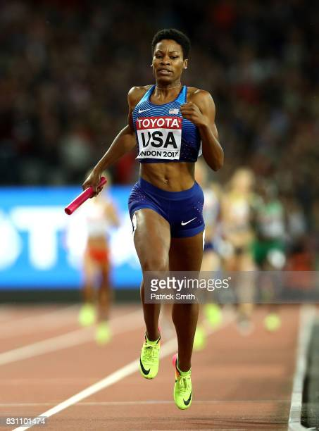 Phyllis Francis of the United States crosses the finishline to win gold in the Women's 4x400 Metres Relay final during day ten of the 16th IAAF World...