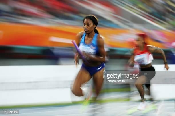 Phyllis Francis of the USA runs in Heat One of the Women's 4 x 200 Meters Relay during the IAAF/BTC World Relays Bahamas 2017 at Thomas Robinson...