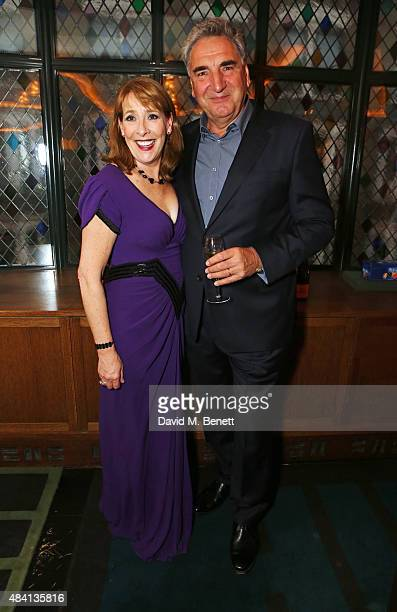Phyllis Logan and Jim Carter attend the Downton Abbey wrap party at The Ivy on August 15 2015 in London England