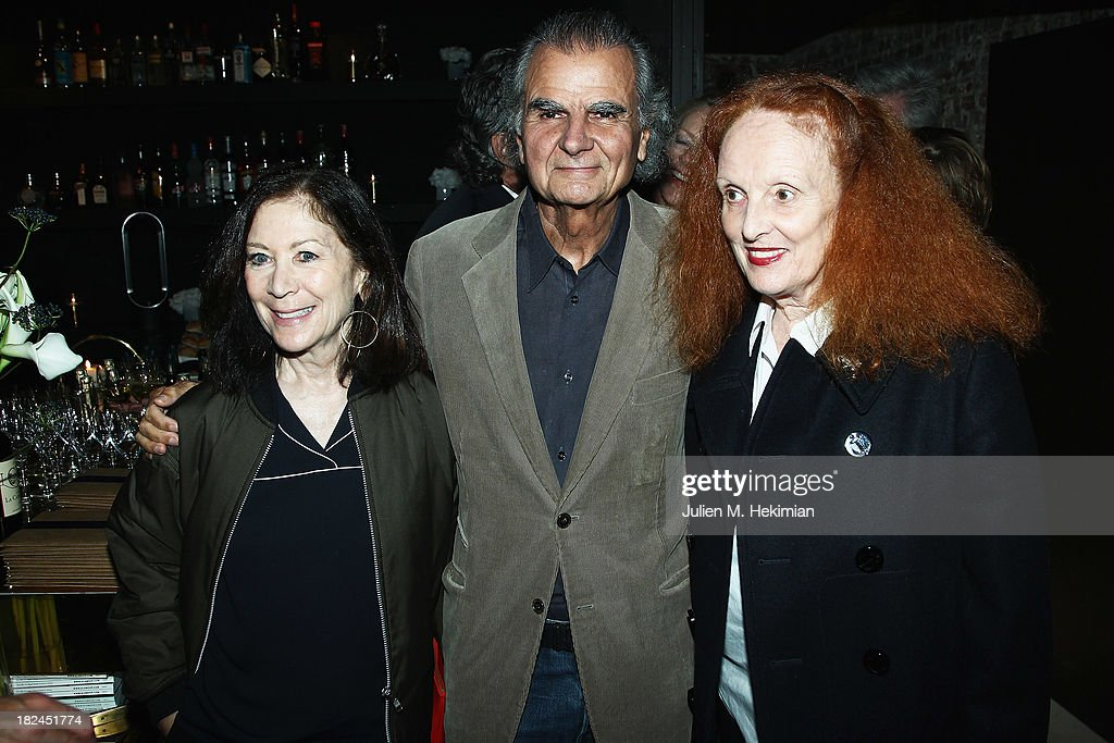 Phyllis Posnik, <a gi-track='captionPersonalityLinkClicked' href=/galleries/search?phrase=Patrick+Demarchelier&family=editorial&specificpeople=2118326 ng-click='$event.stopPropagation()'>Patrick Demarchelier</a> and <a gi-track='captionPersonalityLinkClicked' href=/galleries/search?phrase=Grace+Coddington&family=editorial&specificpeople=1706831 ng-click='$event.stopPropagation()'>Grace Coddington</a> attend the Glamour dinner for <a gi-track='captionPersonalityLinkClicked' href=/galleries/search?phrase=Patrick+Demarchelier&family=editorial&specificpeople=2118326 ng-click='$event.stopPropagation()'>Patrick Demarchelier</a> as part of the Paris Fashion Week Womenswear Spring/Summer 2014 at Monsieur Bleu restaurant on September 29, 2013 in Paris, France.