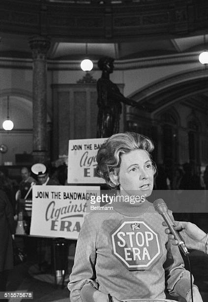 Phyllis Schlafly national leader of the 'Stop the Equal Rights Amendment' movement talks with reporters 3/4/75 during a rally at the Illinois State...