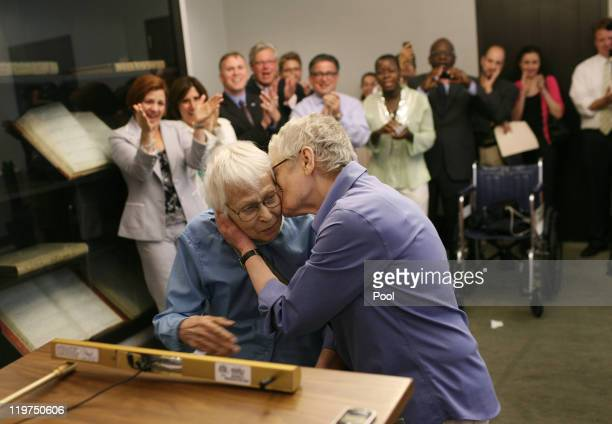Phyllis Siegel right kisses her wife Connie Kopelov after exchanging vows at the Manhattan City Clerk's office with New York City Council Speaker...