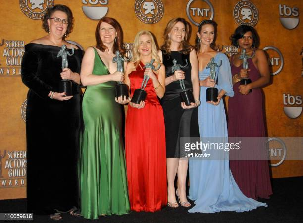 Phyllis Smith Kate Flannery Angela Kinsey Jenna Fischer Melora Hardin and Mindy Kaling of The Office winner Outstanding Performance by an Ensemble in...