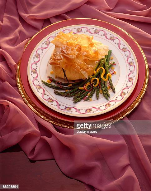 Phyllo bundle with asparagus
