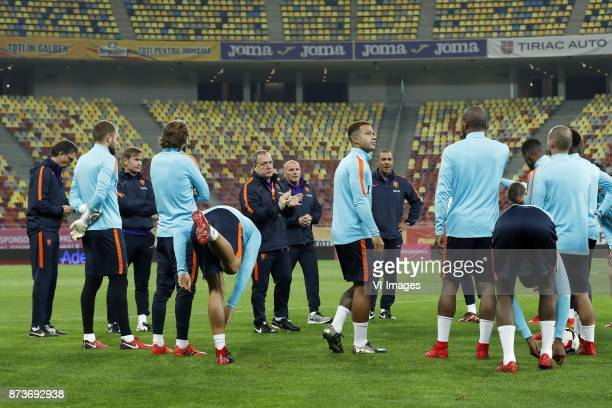 physic trainer Luc van Agt of Holland goalkeeper Jeroen Zoet of Holland goalkeeper trainer Frans Hoek of Holland Daley Blind of Holland Kevin...