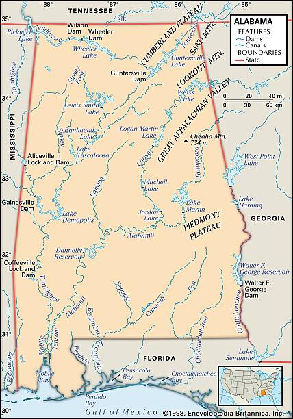 Physical Map Of Alabama Pictures Getty Images - Map of alabama