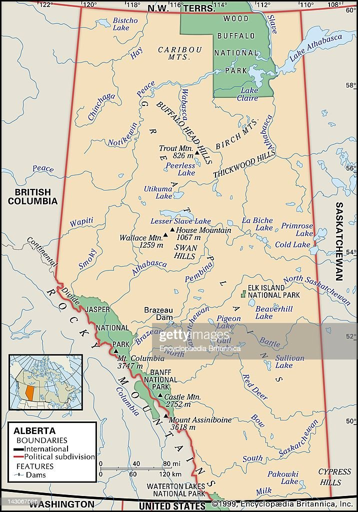 Physical Map Of Alberta Pictures Getty Images - Physical features of canada map