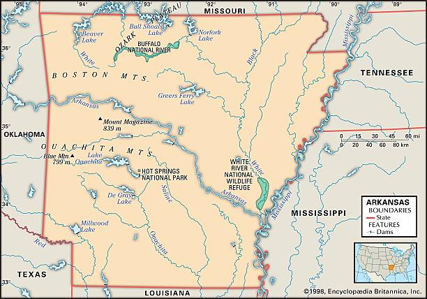 Physical Map Of Arkansas Pictures Getty Images - Map of arkansas