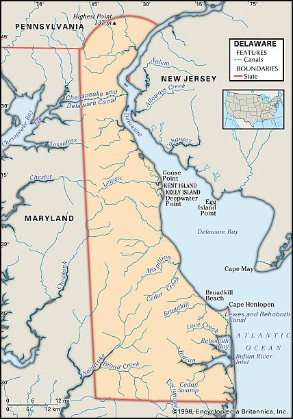 Physical Map Of Delaware Pictures Getty Images - Map of delaware