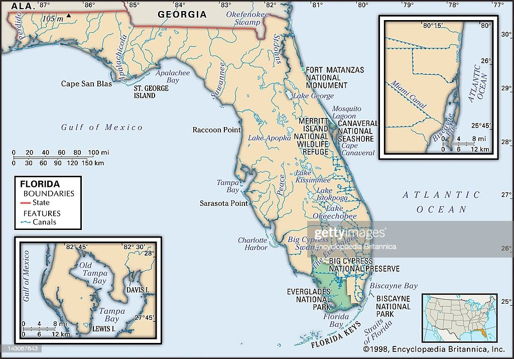 Physical Map Of Florida Physical Map Of The State Of Florida Showing National Parks Lakes And Other Features With Insets Of The Miami And Tampa/St...