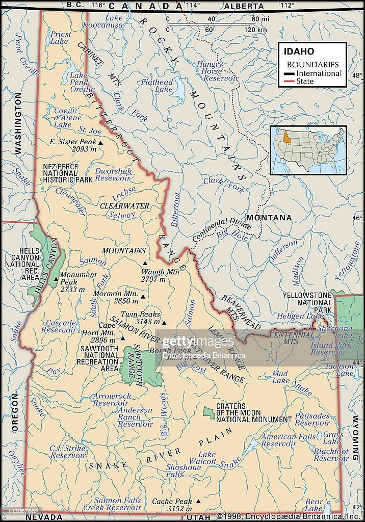 Physical Map Of Idaho Pictures Getty Images - Physical map of idaho