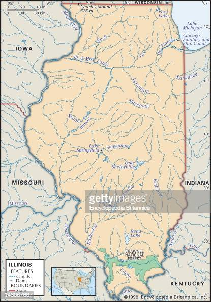 Physical Map Of Illinois Pictures Getty Images - Physical map of kentucky