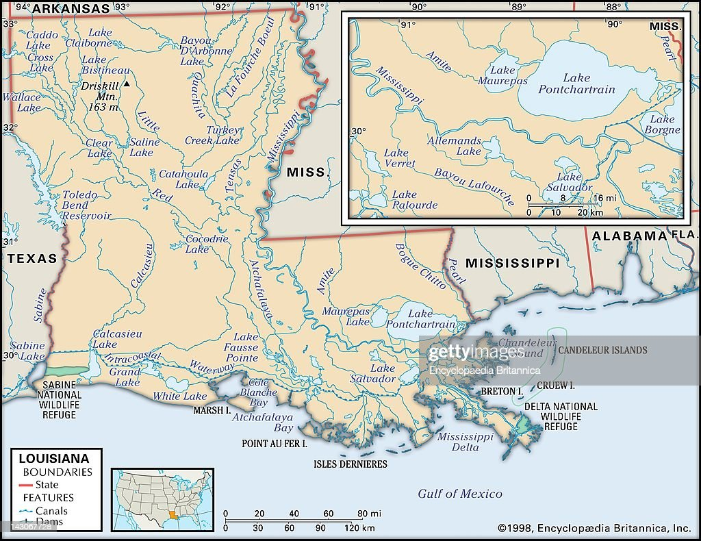 Physical Map Of Louisiana Pictures Getty Images - Map of new orleans rivers
