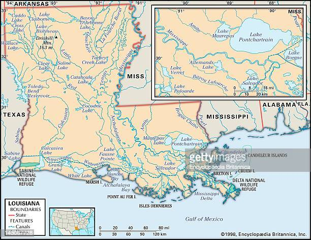 New Orleans Map Stock Photos And Pictures Getty Images - Louisiana lakes map