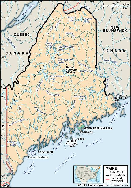 Physical Map Of Maine Pictures Getty Images - Map of the state of maine