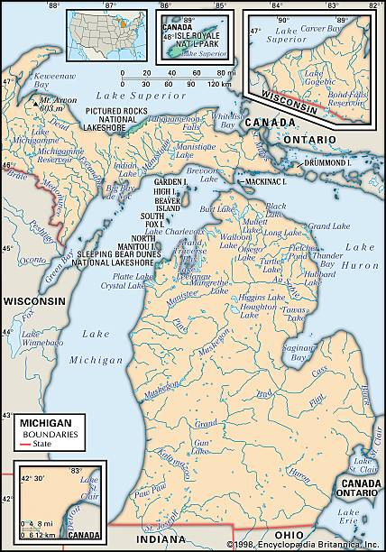 Physical Map Of Michigan Pictures Getty Images - Map of the state of michigan