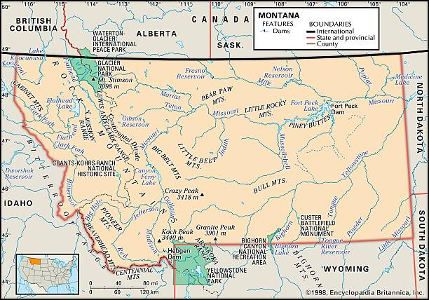 Physical Map Of Montana Pictures Getty Images - Physical map of idaho
