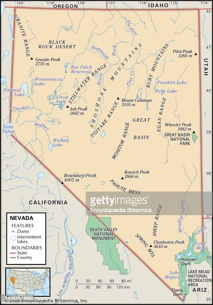 Physical Map Of Nevada Pictures Getty Images - A map of nevada