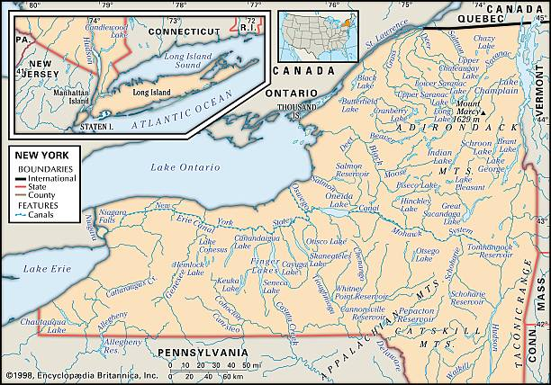 Physical Map Of New York Pictures Getty Images - Quebec state physical map