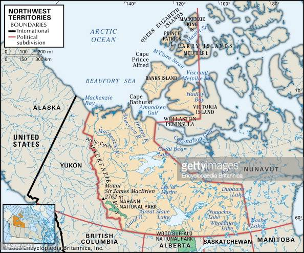 Physical Map Of Northwest Territories Pictures Getty Images - Canada physical map