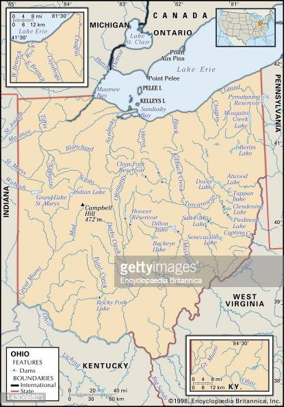 Physical Map Of Ohio Pictures Getty Images - Physical map of kentucky