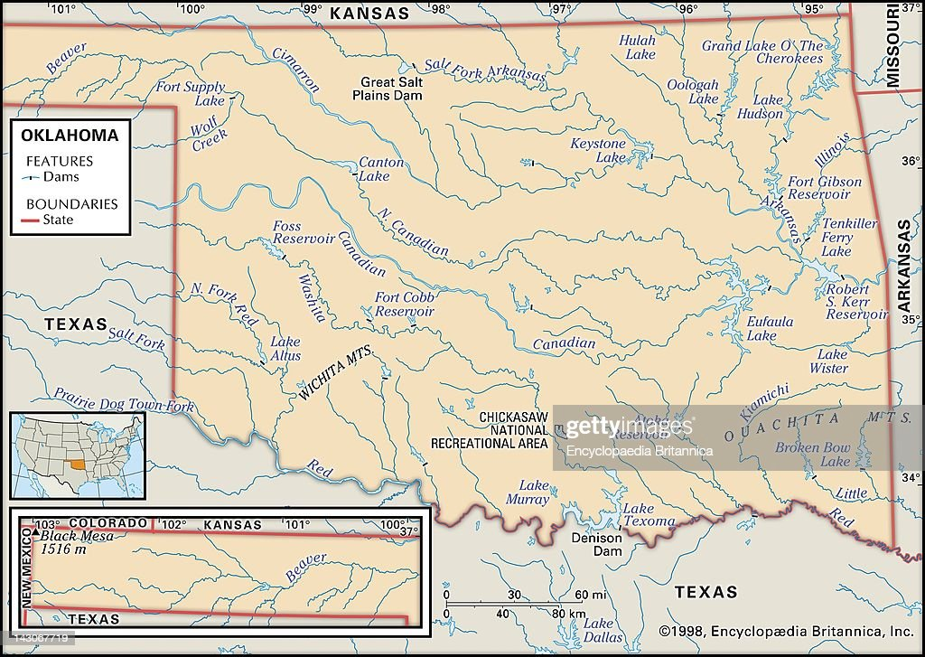 Physical Map Of Oklahoma Pictures Getty Images - Oklahoma map of lakes