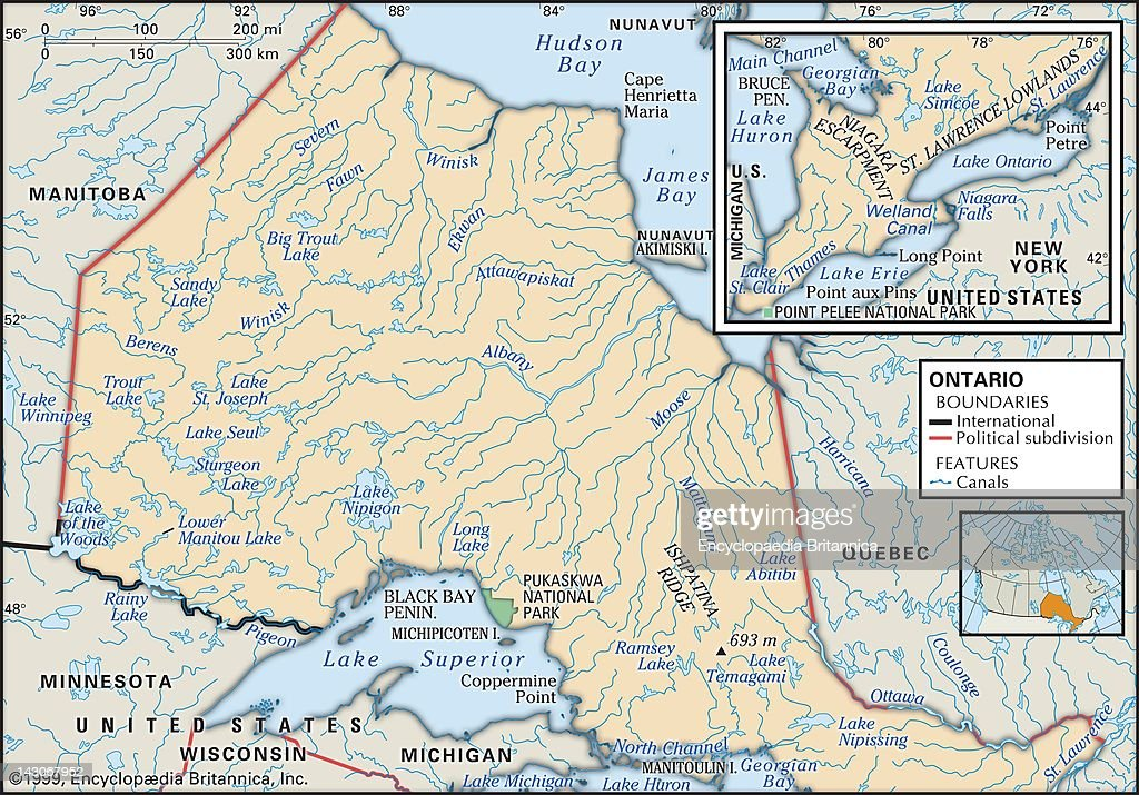 Physical Map Of Ontario Pictures Getty Images - Map of ontario canada