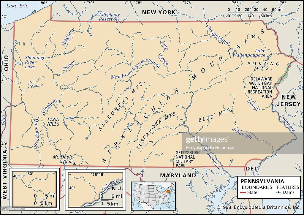 Physical Map Of Pennsylvania Pictures Getty Images - Map of pennsylvania