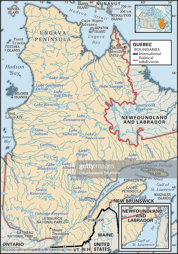 Physical Map Of Quebec Pictures Getty Images - Map of quebec canada