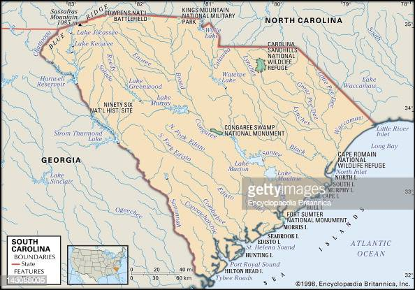 Physical Map Of South Carolina Pictures Getty Images - Georgia physical map