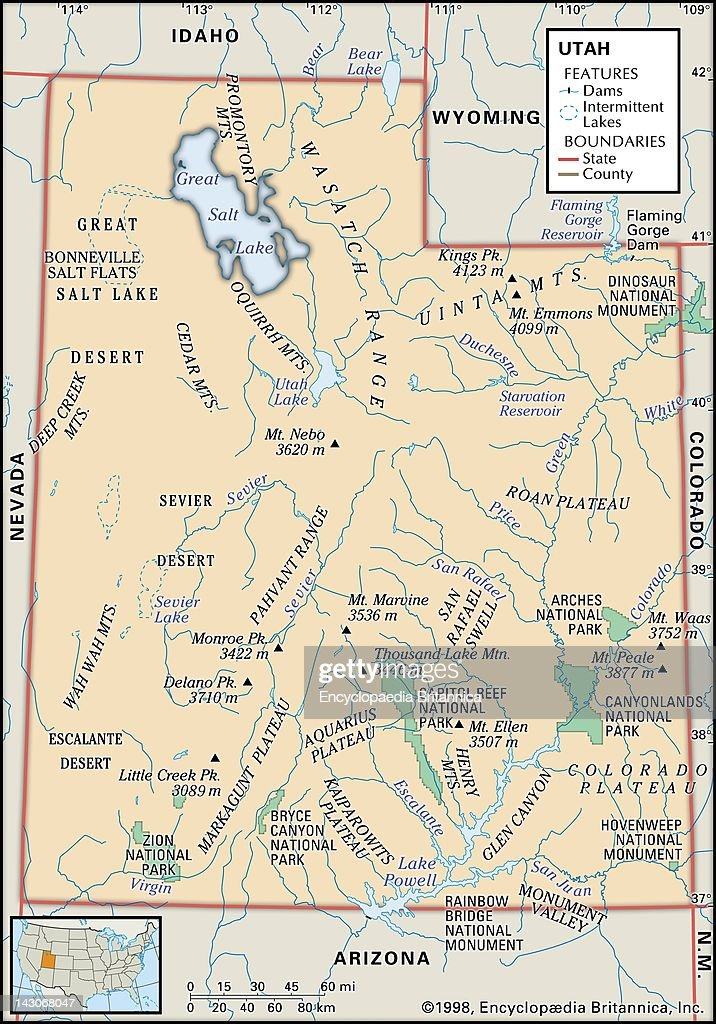Physical Map Of Utah Pictures Getty Images - State of utah map